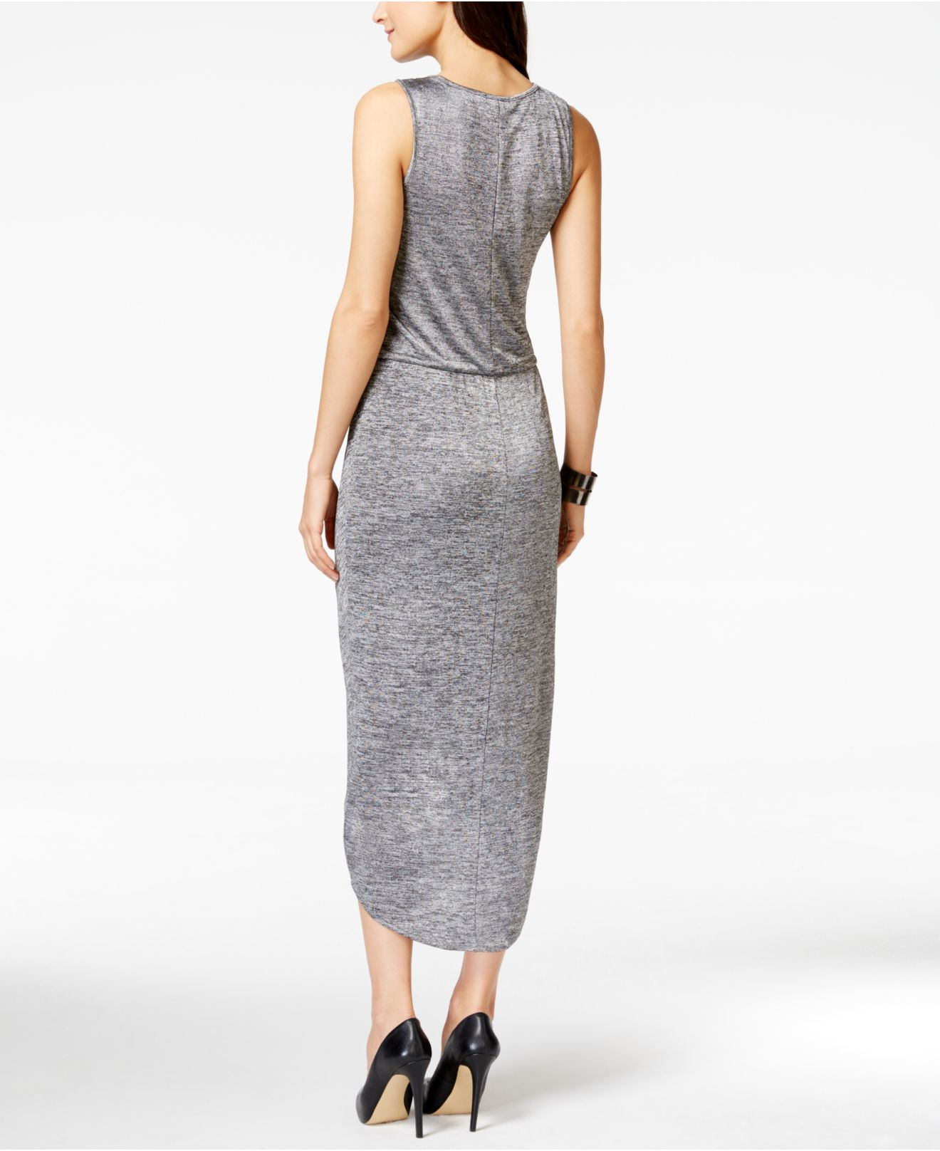 Dkny Twist-front Maxi Dress in Gray  Lyst