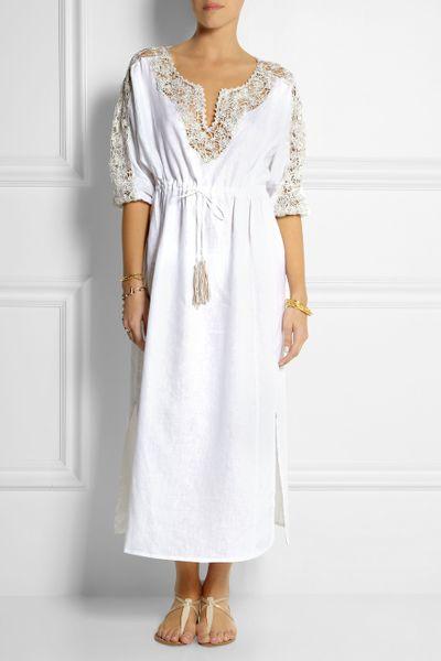 Emam 243 Embellished Crocheted Linen Beach Dress In White Lyst