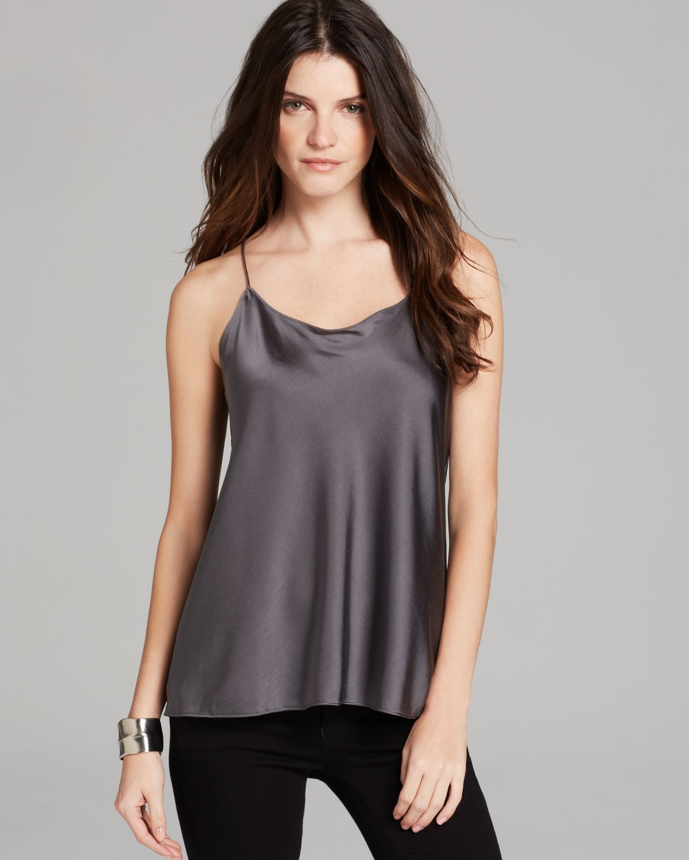 Lyst - Eileen Fisher Racerback Silk Camisole in Gray