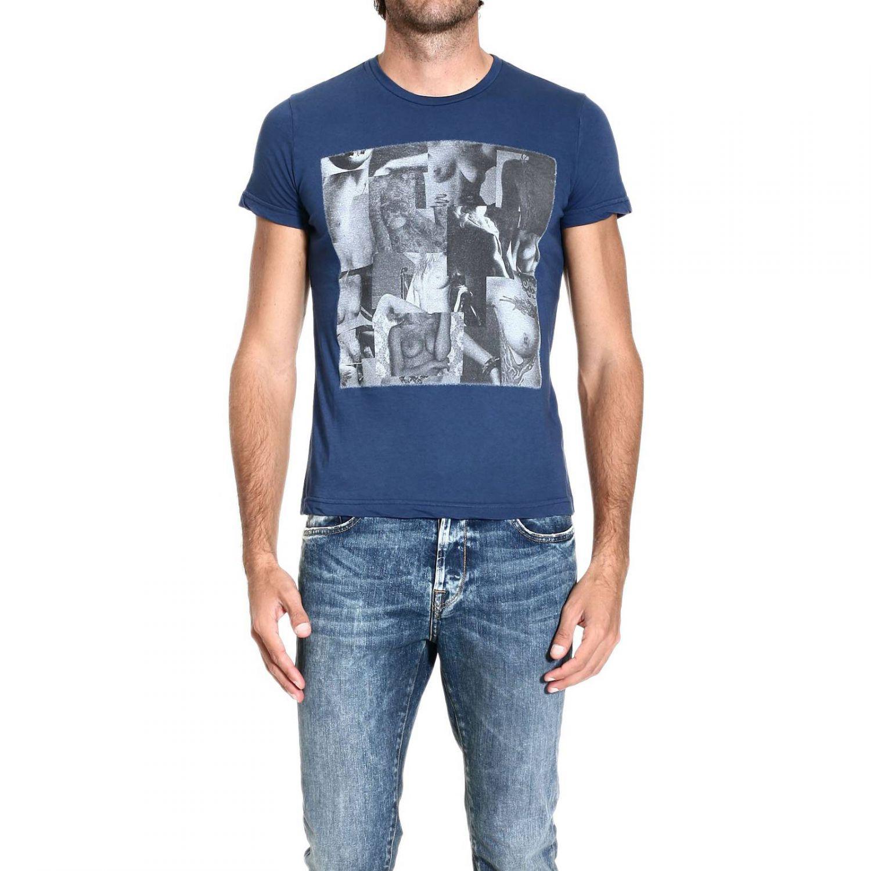 John richmond t shirt short sleeve crewneck print in blue for T shirt printing richmond va