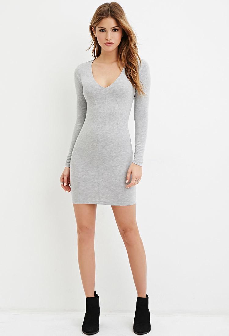 Forever 21 V-neck Bodycon Dress in Gray | Lyst - photo #7