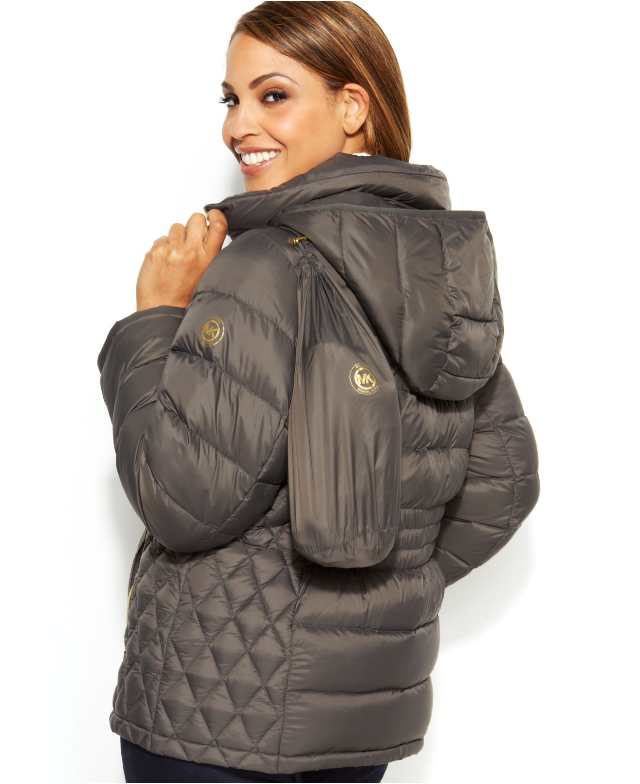 804601ff1cb8 Lyst - Michael Kors Michael Plus Size Hooded Quilted Down Packable ...