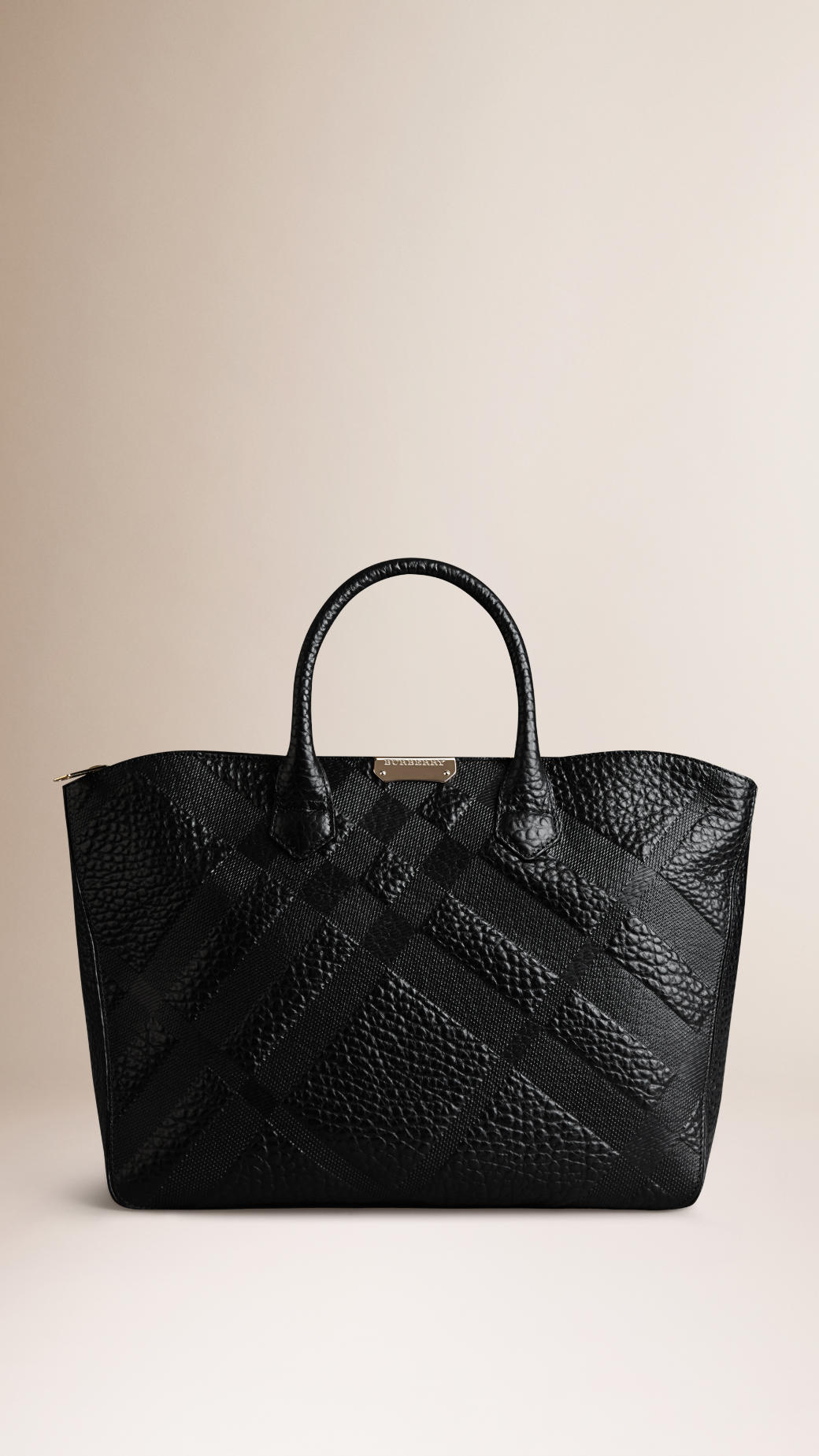4b751d39bd5a Burberry Medium Embossed Check Leather Tote Bag in Black .