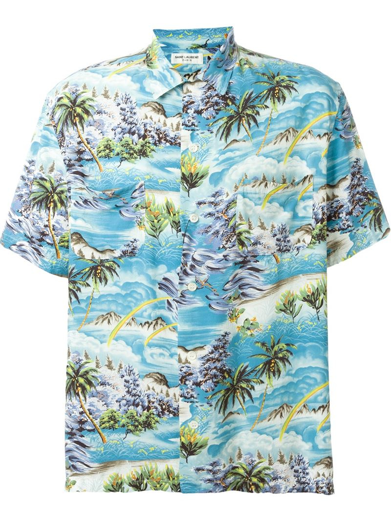 Saint Laurent Surf Print Hawaiian Shirt In Blue For Men Lyst