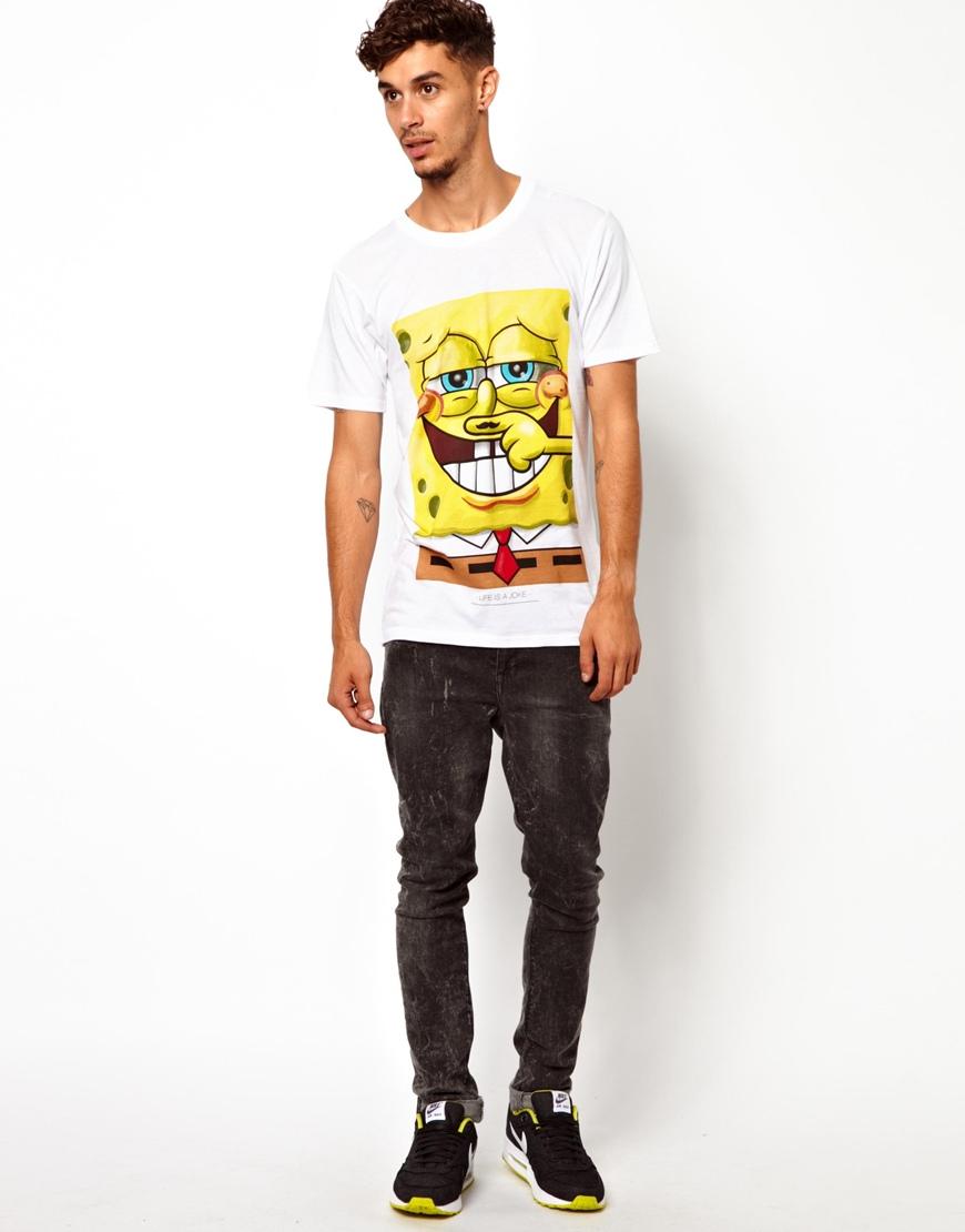 lyst eleven paris tshirt with spongebob print in white for men. Black Bedroom Furniture Sets. Home Design Ideas