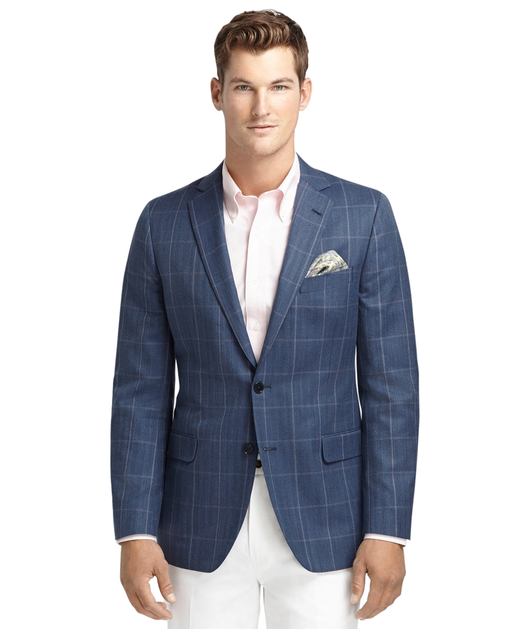 Brooks Brothers Fitzgerald Fit Blue With Rust Windowpane