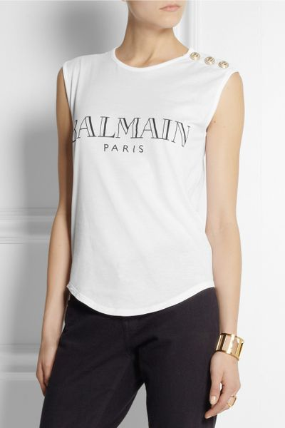 Balmain printed cotton tshirt in white lyst for Balmain white logo t shirt