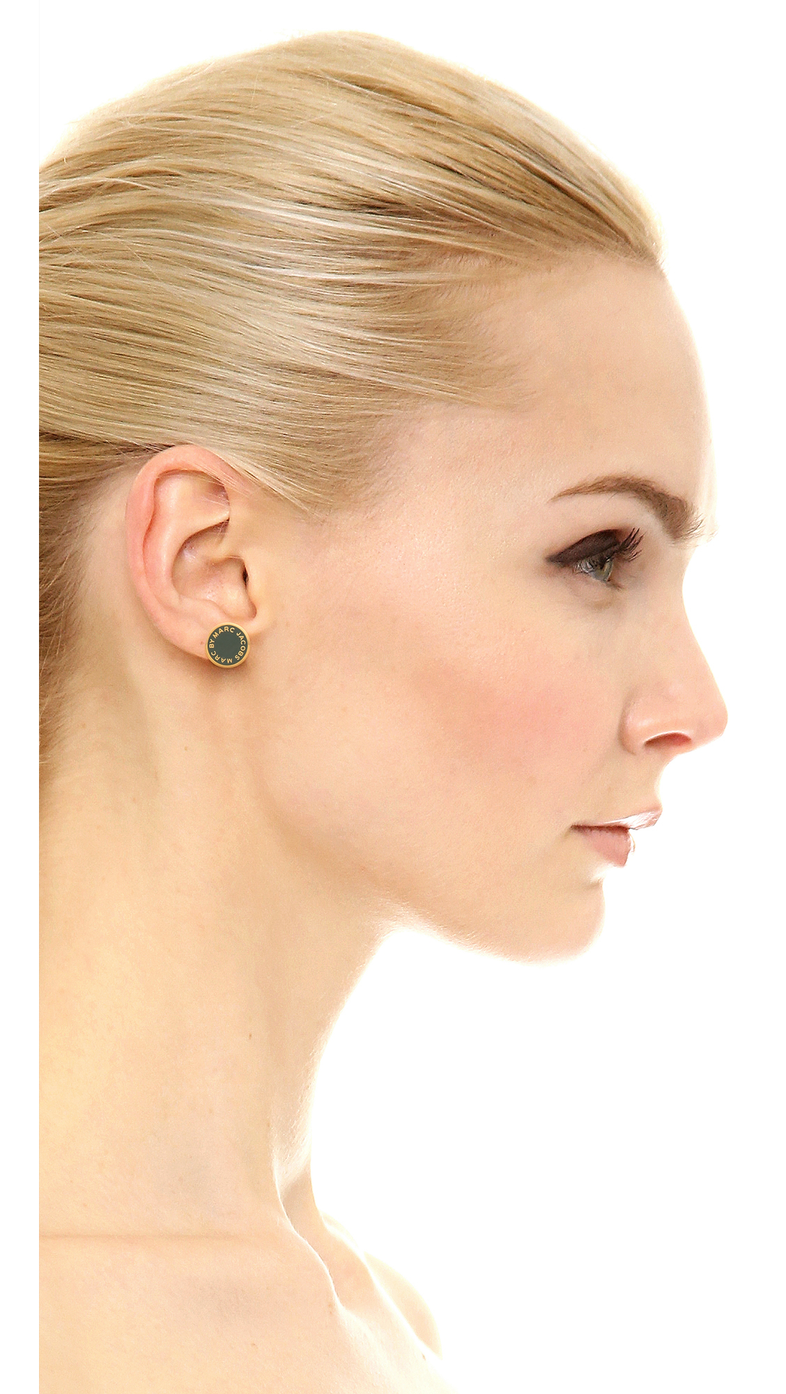 lyst disc gallery flat earrings asos jewelry copper stud