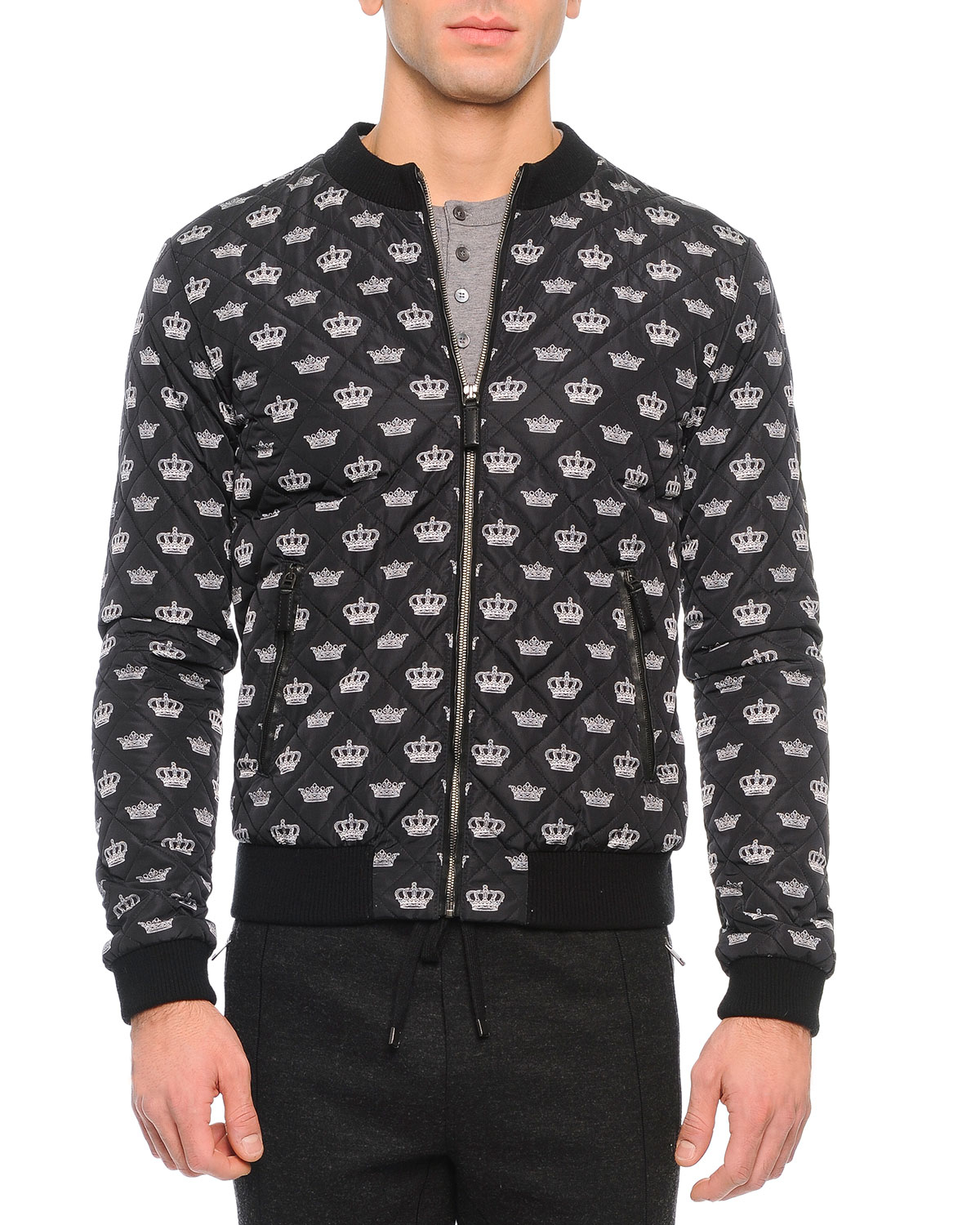 Dolce Amp Gabbana Crown Print Quilted Zip Jacket In Gray Lyst