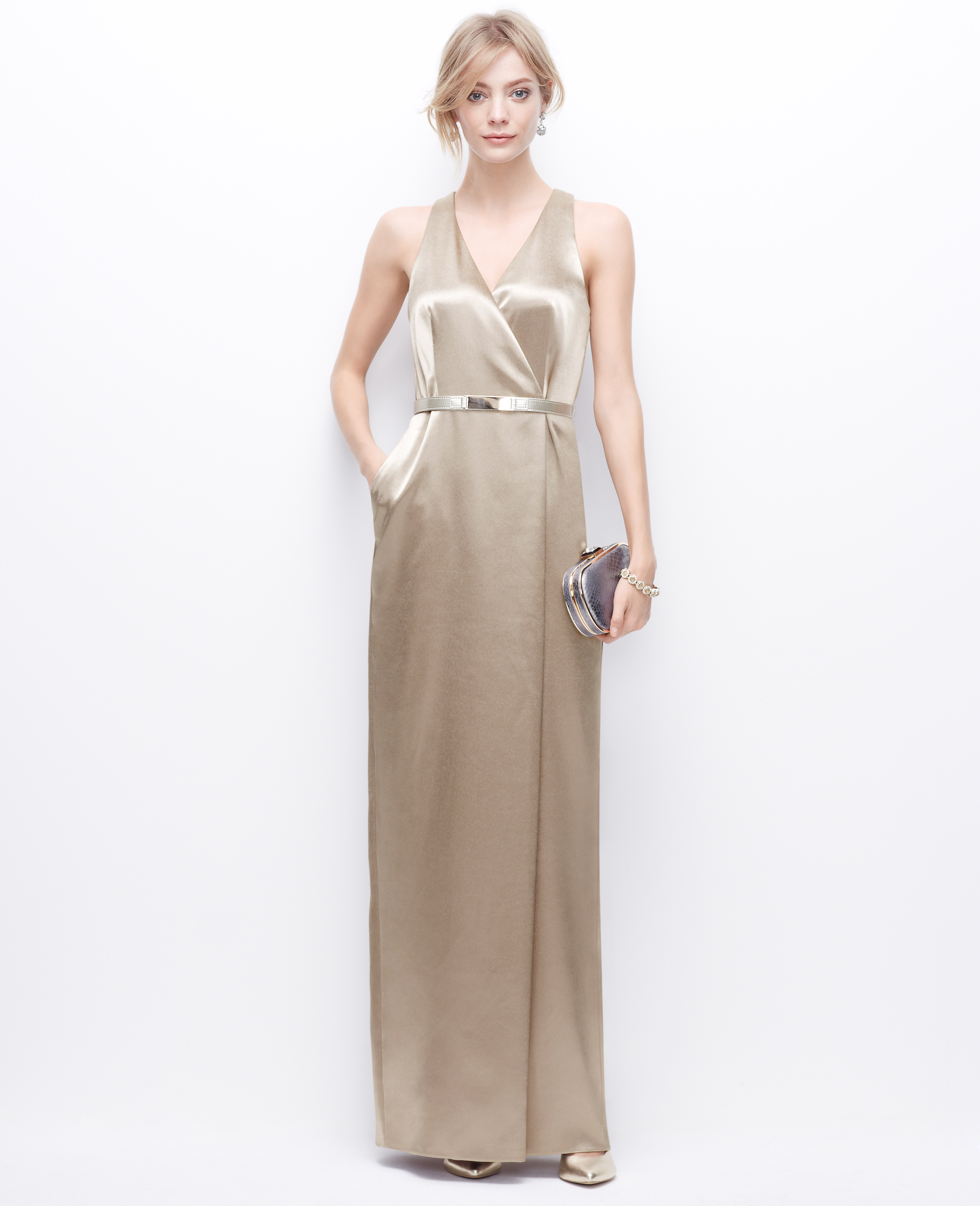 Lyst - Ann Taylor Petite Satin V-Neck Gown in Metallic