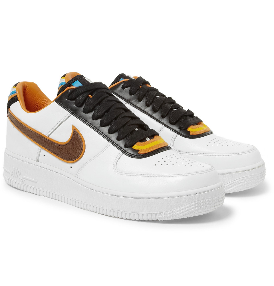nike riccardo tisci air force 1 leather sneakers in white. Black Bedroom Furniture Sets. Home Design Ideas