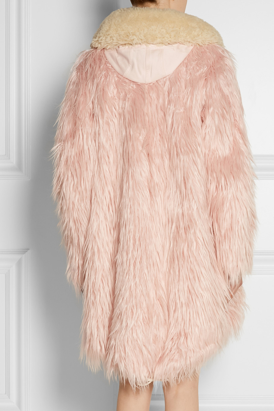 Lyst Coach Fluffy Shearling Trimmed Faux Fur Coat In Pink
