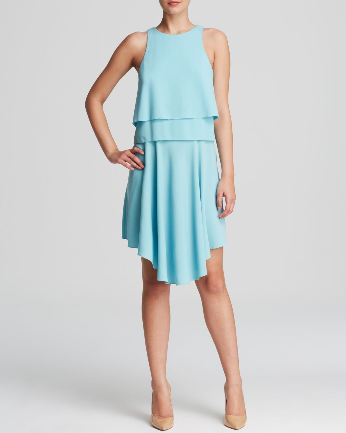 Tibi Dress - Savanna Crepe Double Layer in Blue | Lyst