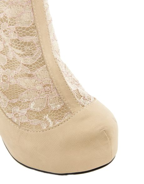 Asos Asos Twinkle Shoe Boots With Lace Detail In Beige