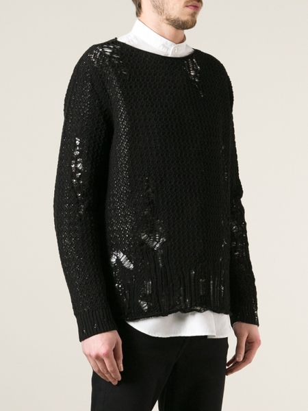 Alexander Mcqueen Distressed Sweater In Black For Men Lyst