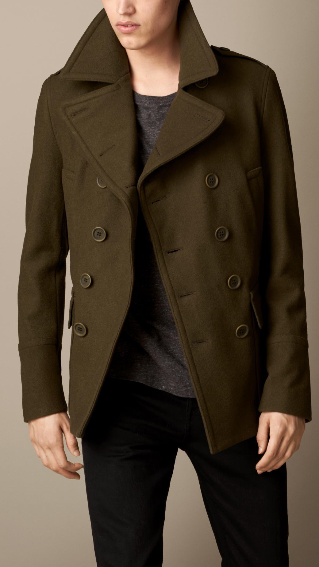 Burberry Wool Cashmere Pea Coat In Green For Men