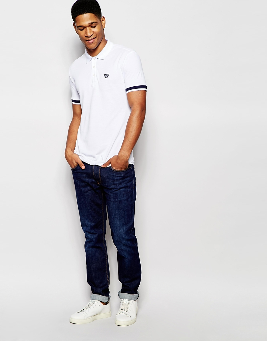97e98dd5 Armani Jeans Rmani Jeans Polo Shirt With Tipped Cuff Slim Fit in ...