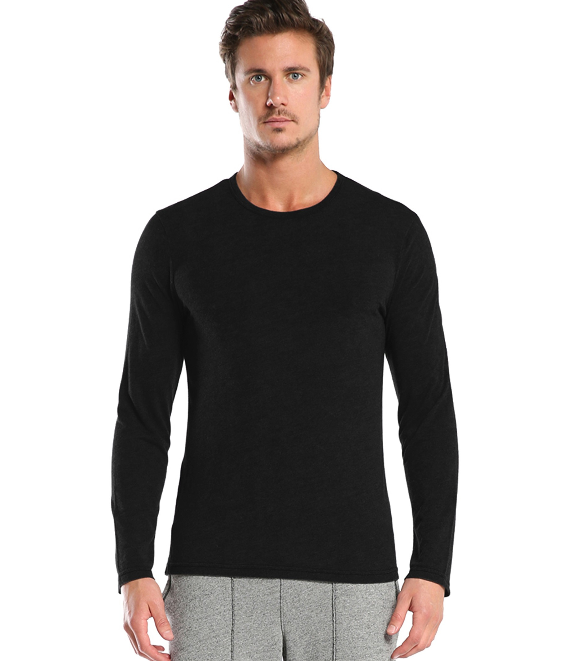 Michael stars long sleeve bamboo crew tee in black for men for Michael stars tee shirts