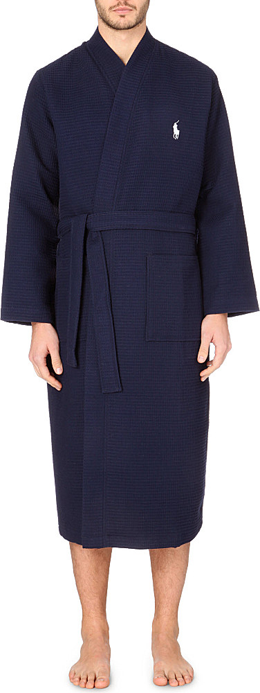 buy cheap get new new concept Ralph Lauren Cotton Waffle Kimono Robe in Navy (Blue) for ...