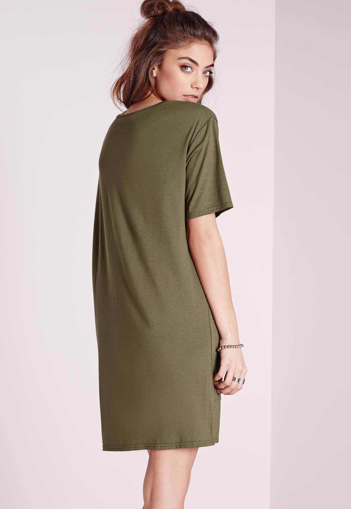 49b6d5f425f7 Lyst - Missguided Jersey Pocket Front T-shirt Dress Khaki in Natural