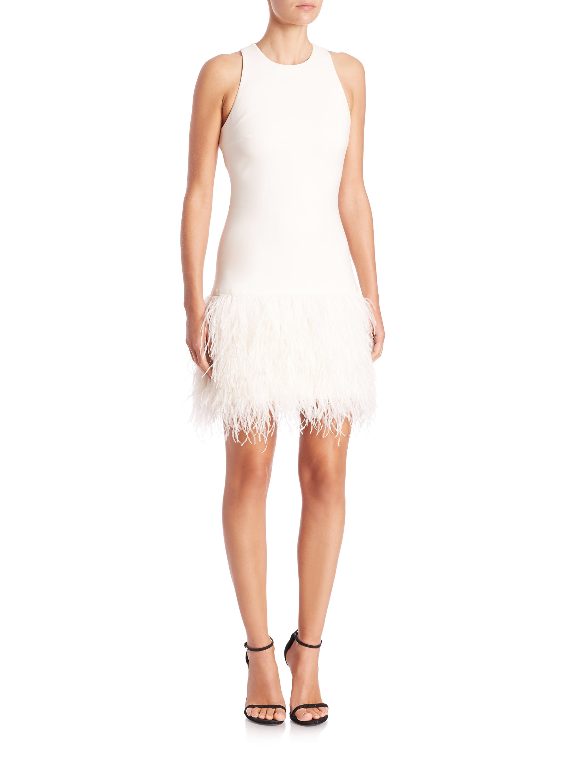 lyst elizabeth and james dania feather dress in white. Black Bedroom Furniture Sets. Home Design Ideas