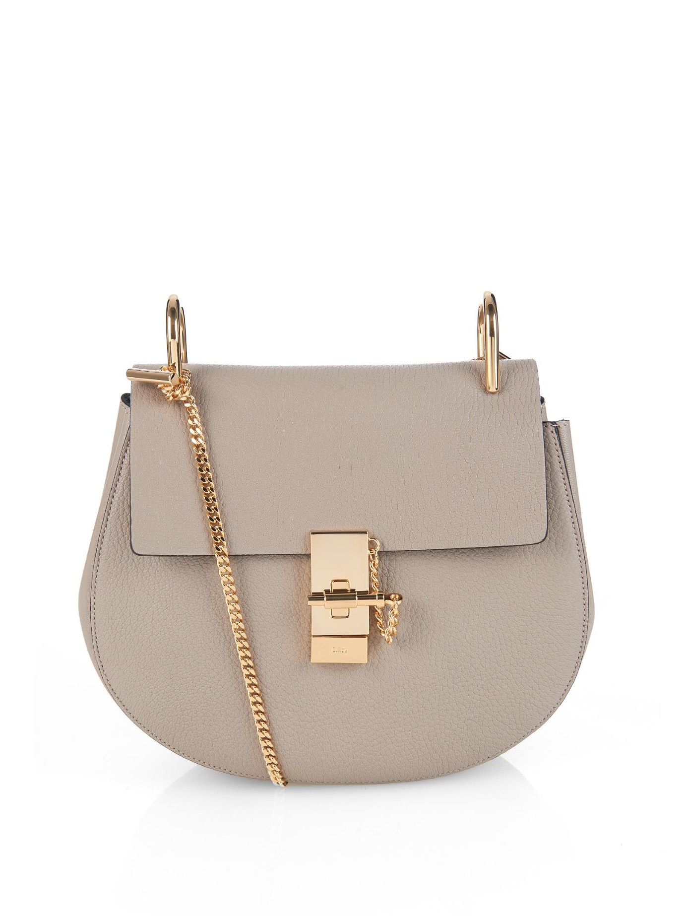 chlo drew small leather shoulder bag in gray lyst. Black Bedroom Furniture Sets. Home Design Ideas
