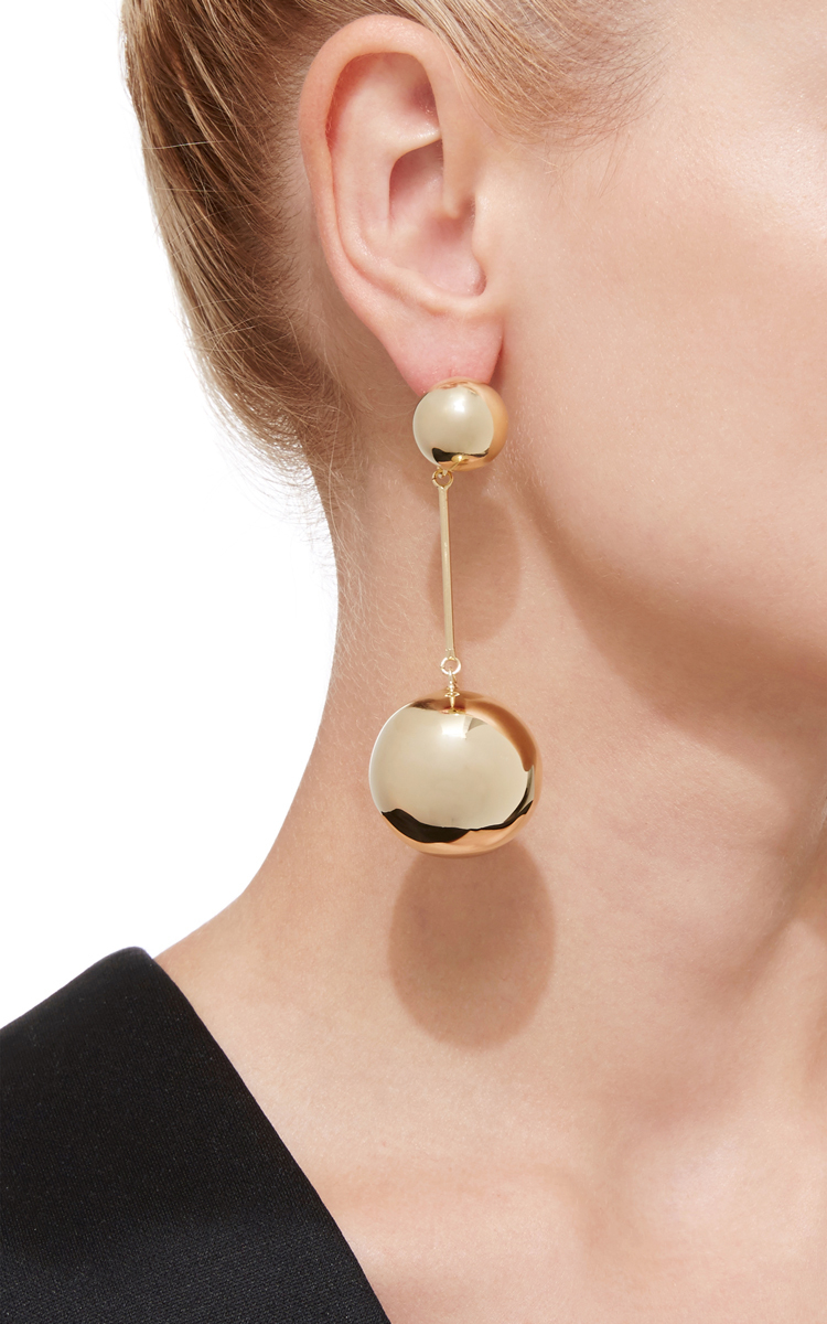 J.W.Anderson Double-sphere gold-plated drop earrings EggFa3Pxo