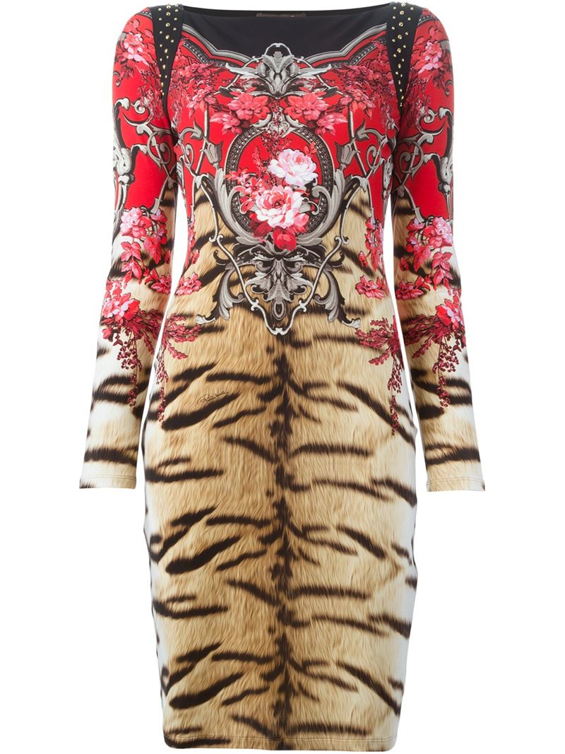 Lyst Roberto Cavalli Tiger And Baroque Print Dress