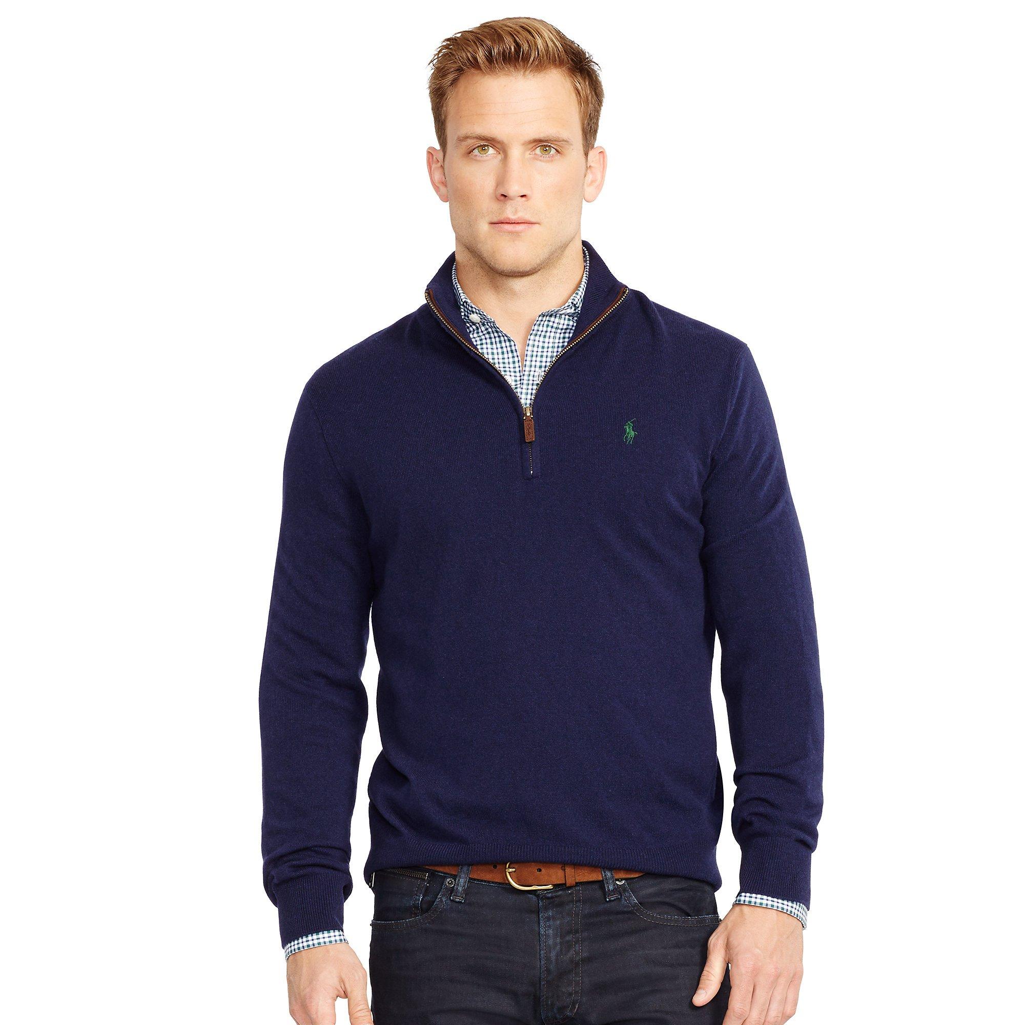 polo ralph lauren wool half zip sweater in blue for men lyst. Black Bedroom Furniture Sets. Home Design Ideas