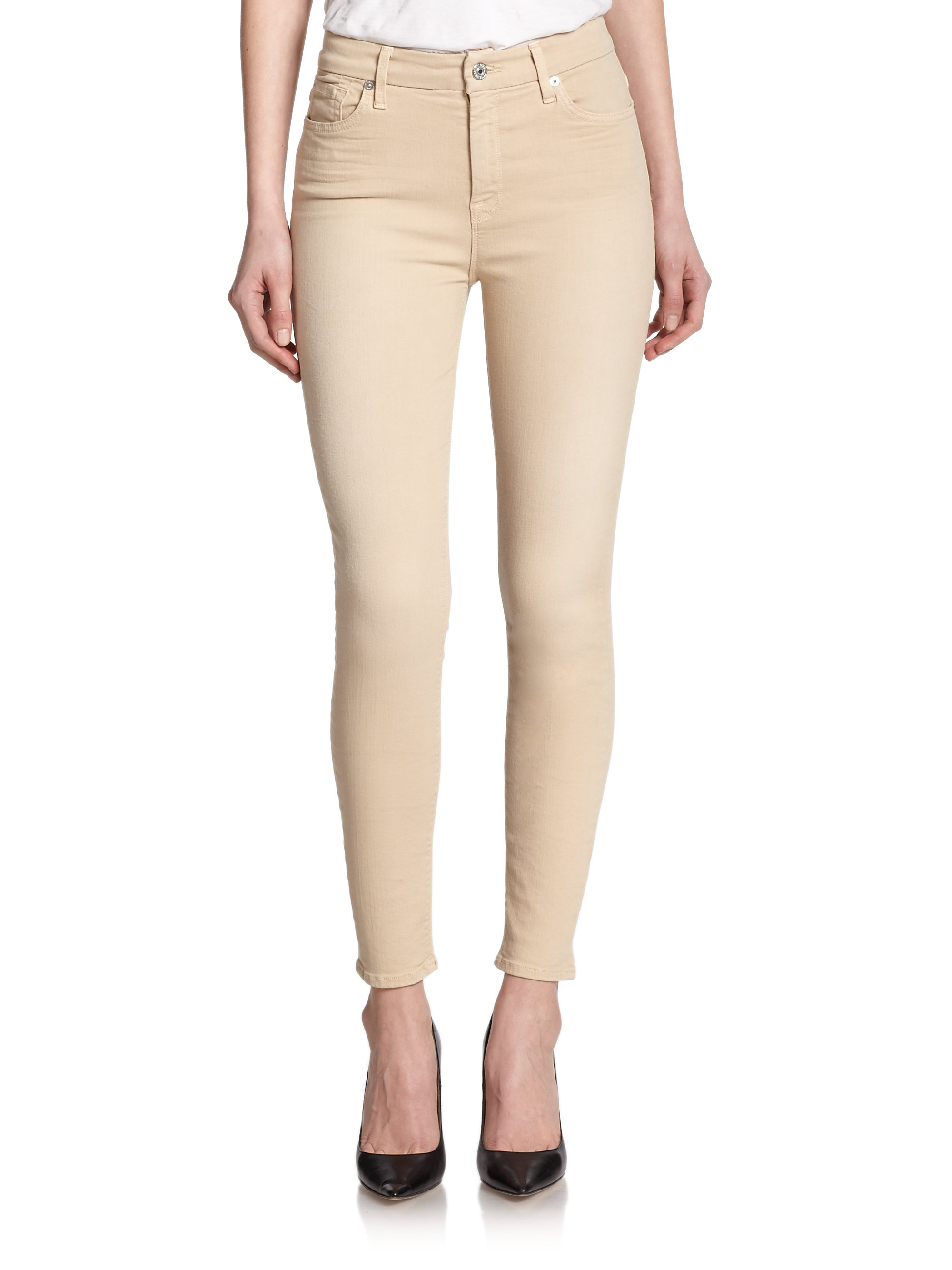 7 for all mankind High Waist Ankle Skinny Jeans in Natural | Lyst