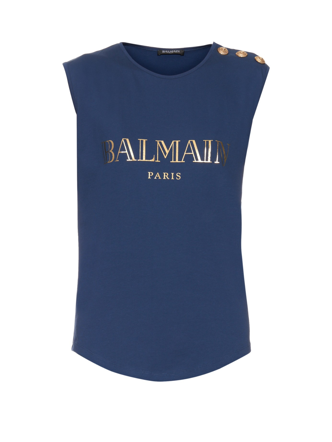 logo print tank top - Blue Balmain For Cheap Price 7yo8T
