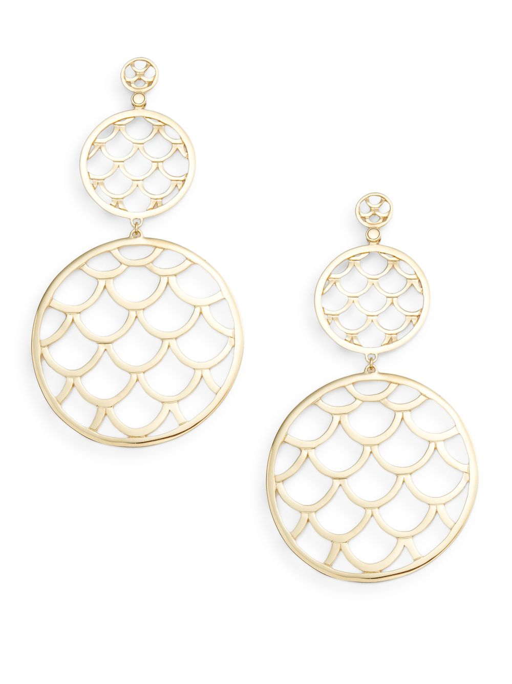 John hardy naga 18k yellow gold double round drop earrings for John hardy jewelry earrings