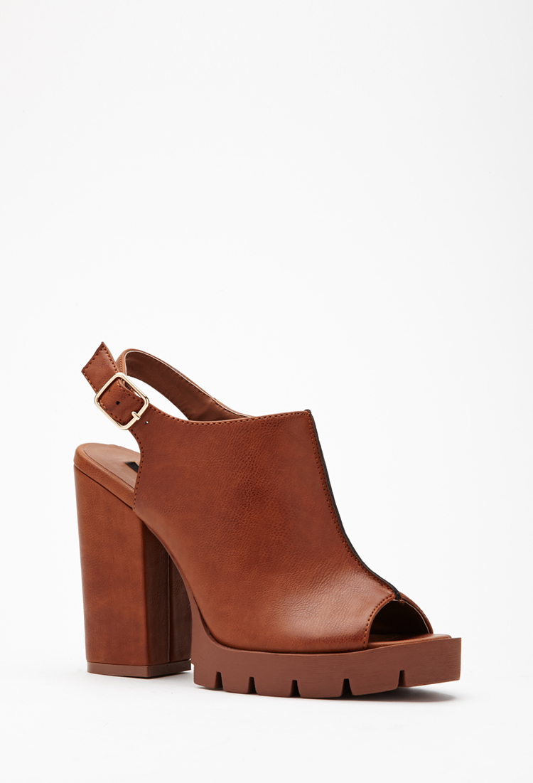 bfa3751220b Lyst - Forever 21 Faux Leather Peep Toe Slingbacks in Brown