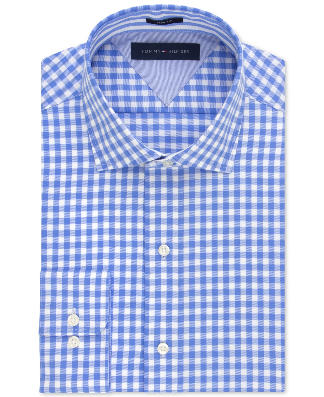 d3c03ec5e089 Lyst - Tommy Hilfiger Easy Care Slim-fit Large Blue Gingham Dress ...
