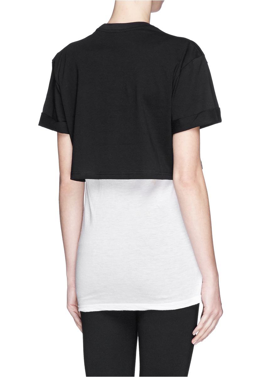 Markus Lupfer 39 Lara Lip 39 Foil Print Cropped T Shirt In