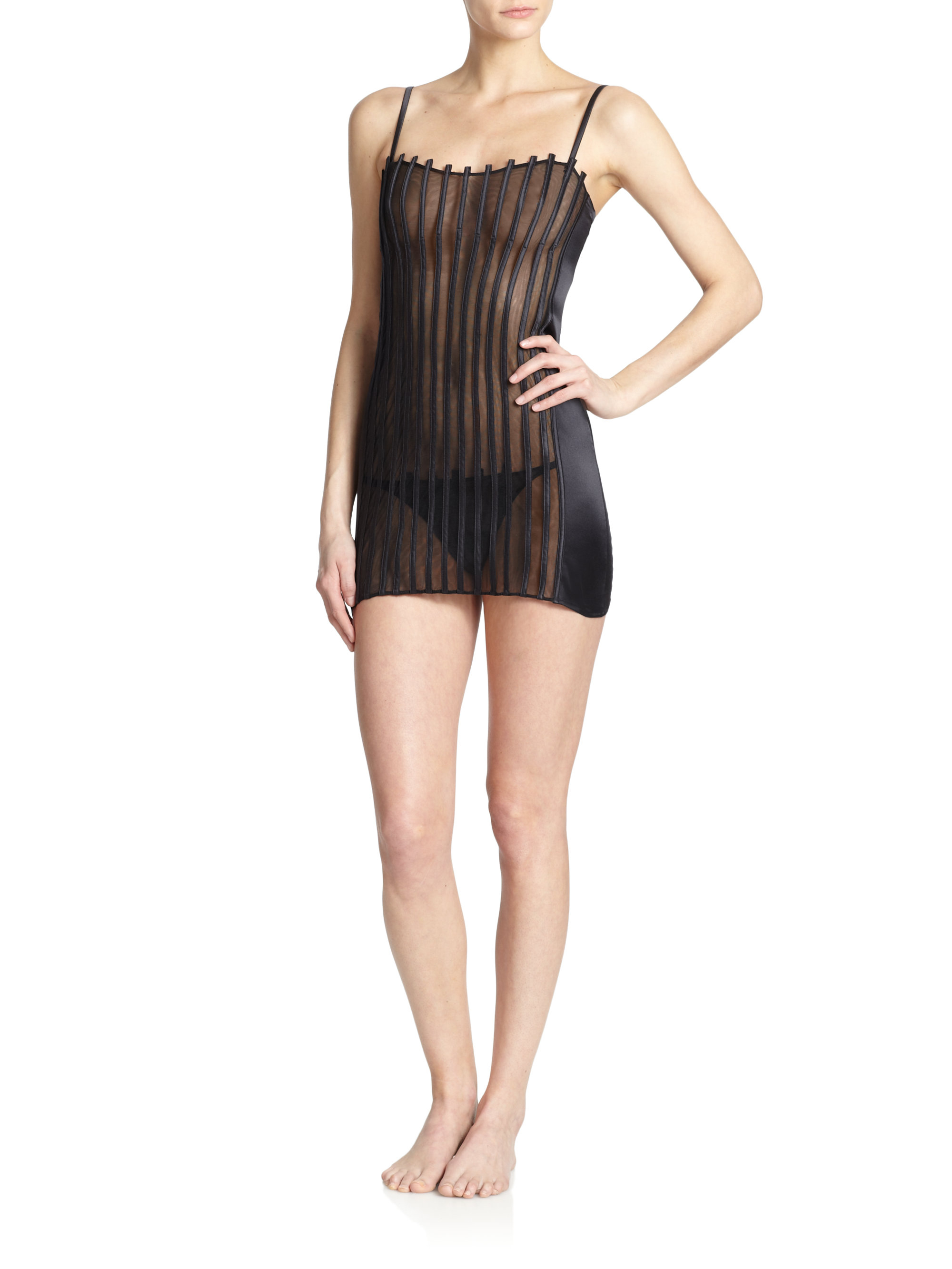 La perla graphique couture chemise in black lyst for La couture clothing
