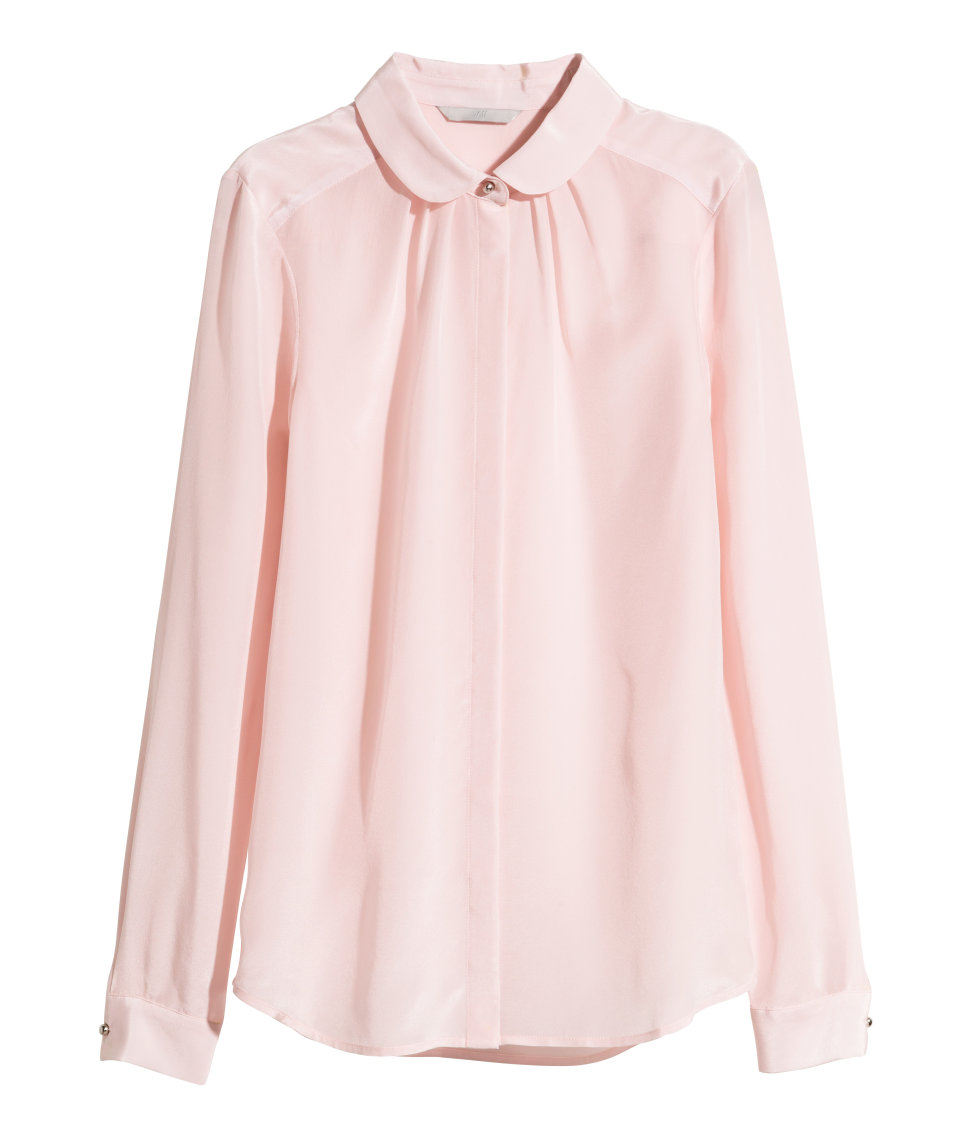 Lyst h m silk blouse in pink for Pastel pink dress shirt
