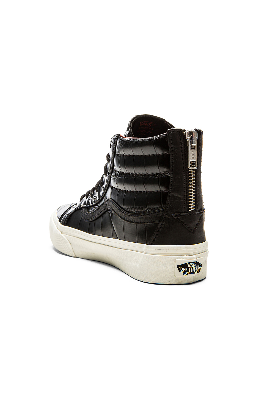 c357e255f20210 Lyst - Vans Sk8 Hi Slim Zip Croc Leather Sneaker in Black