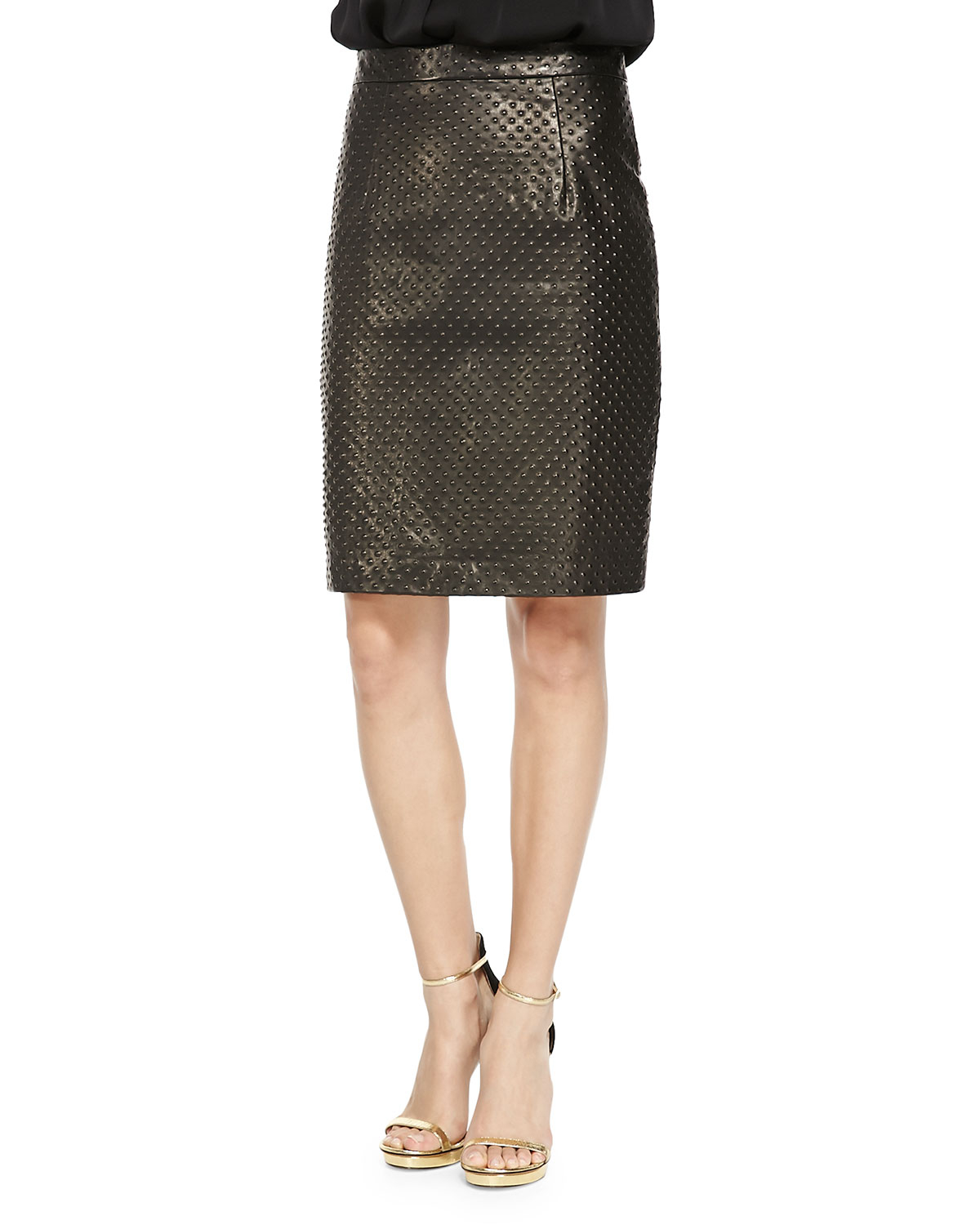 milly embossed leather pencil skirt in brown lyst