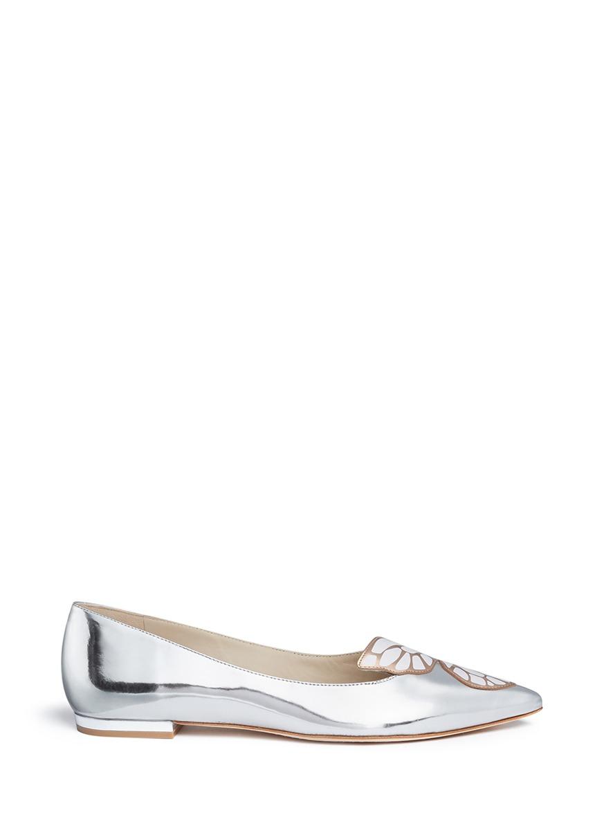 Sophia webster bibi leather ballet flats in silver for Applique miroir