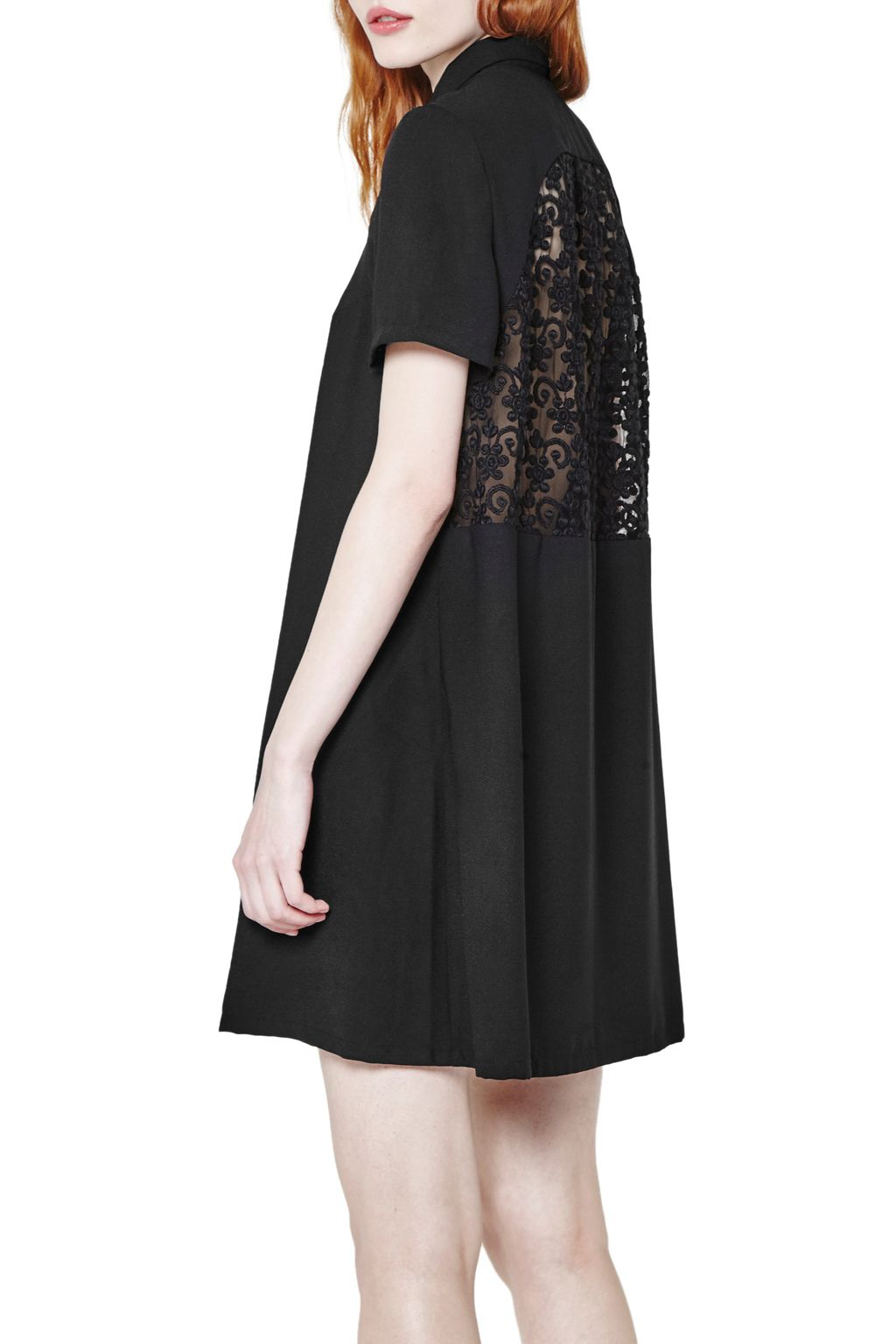 French connection maui lace shirt dress in black lyst for French connection shirt dress