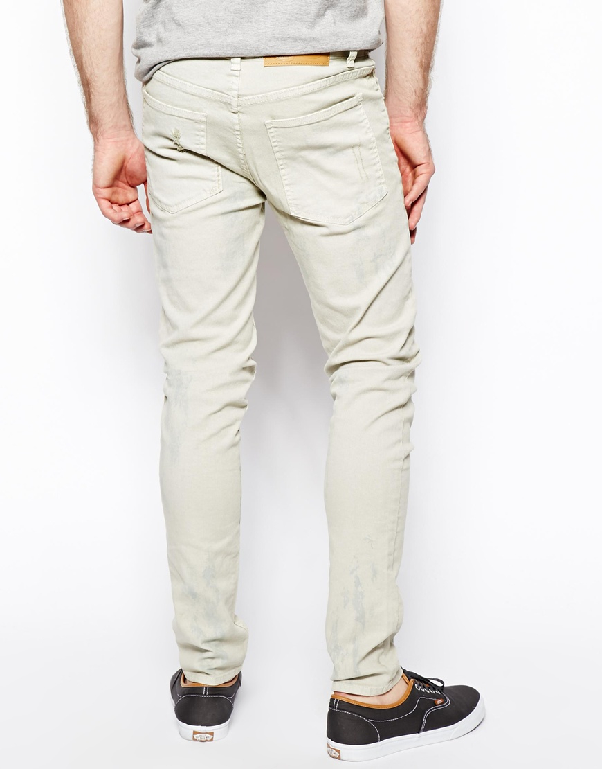 Cheap monday Jeans Tight Skinny Fit In Dirty White in White for