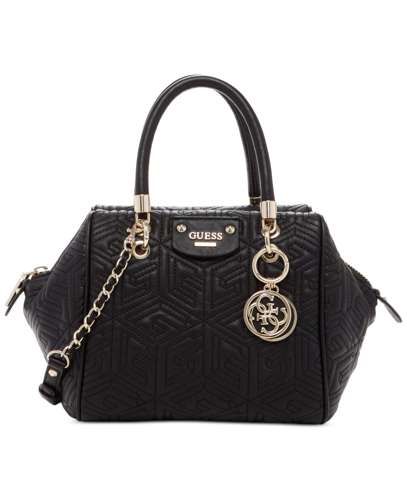 3affdd597bbf Lyst - Guess G Cube Abbey Quilted Satchel in Black