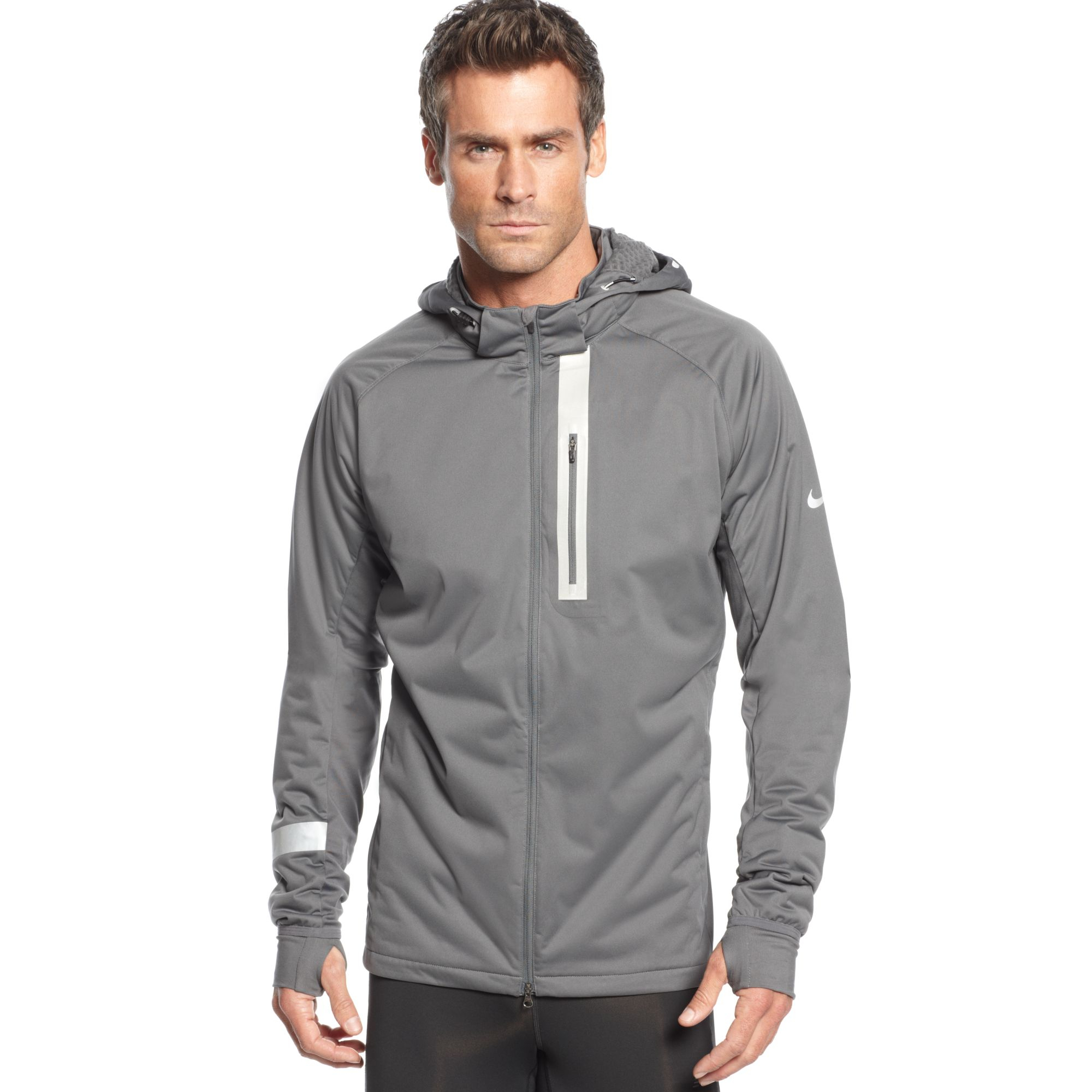 65a0df47b194 Lyst - Nike Element Shield Max Hooded Jacket in Gray for Men