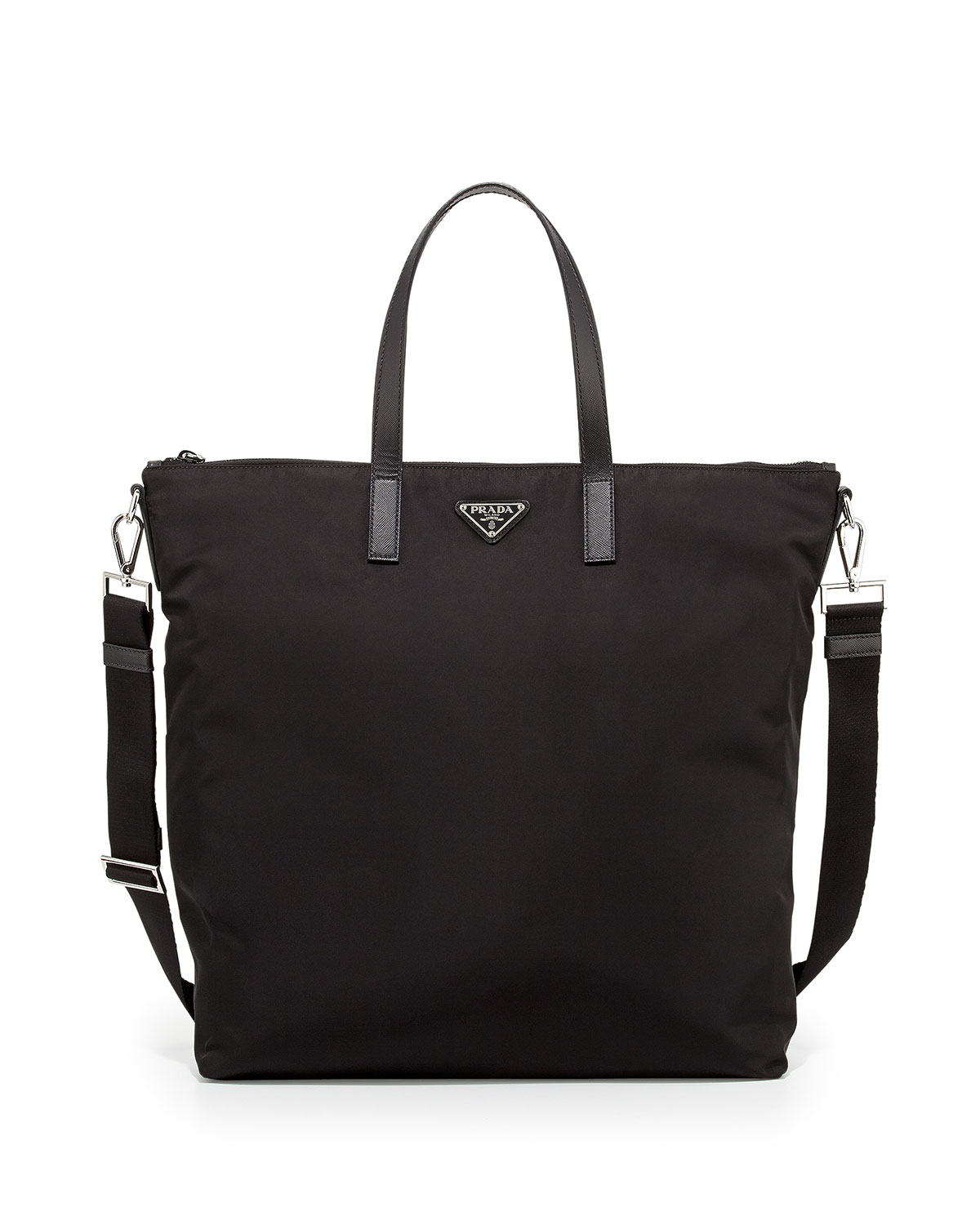 Prada Men's Nylon Zip Tote Bag With Strap in Black | Lyst