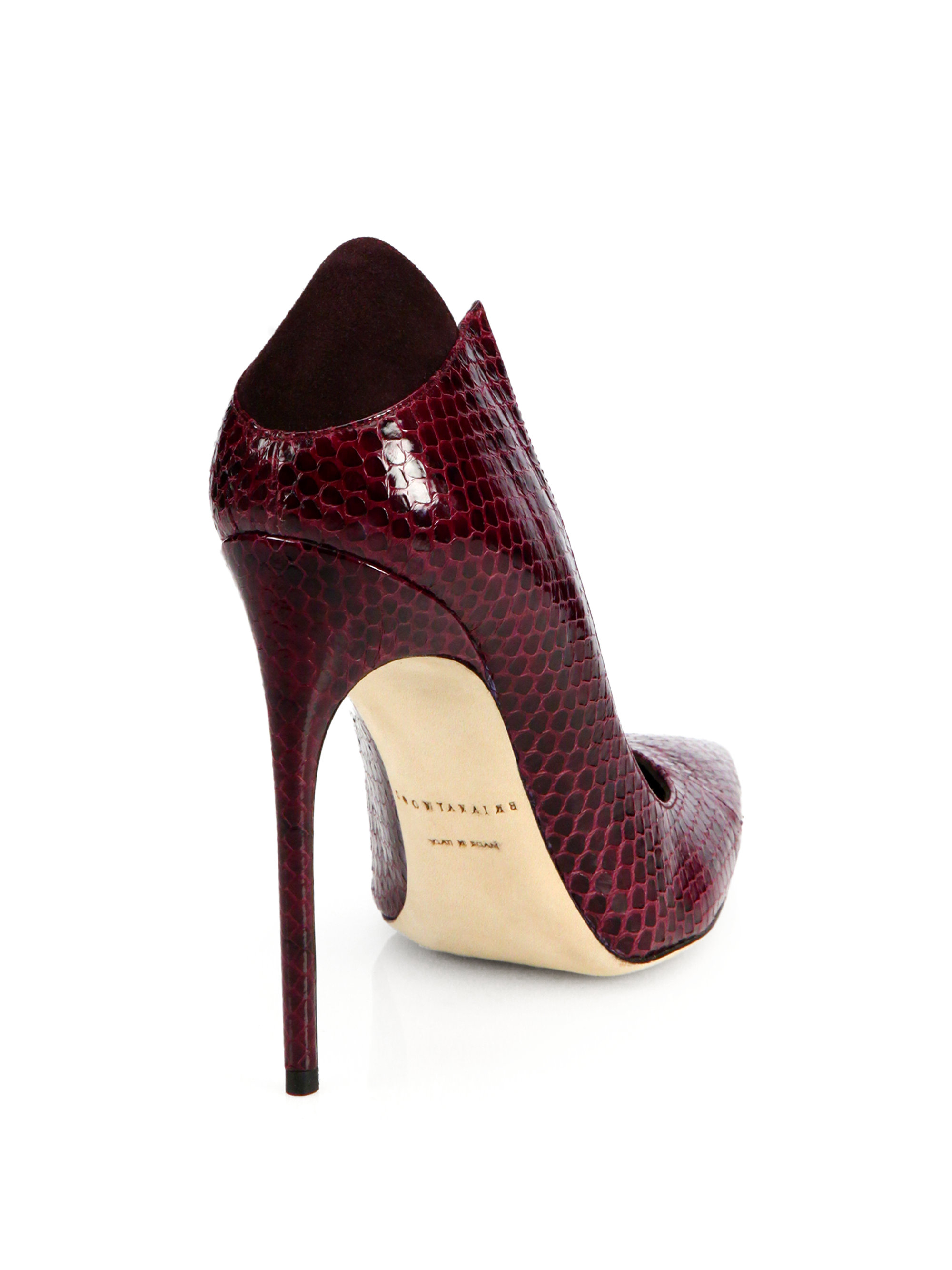Lyst Brian Atwood Mercury Snakeskin Amp Suede Pumps In Red