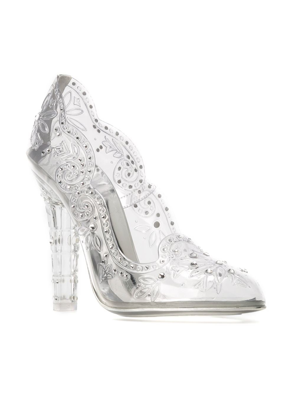 ad36b87f028e Lyst - Dolce   Gabbana Embellished Clear Pumps in White