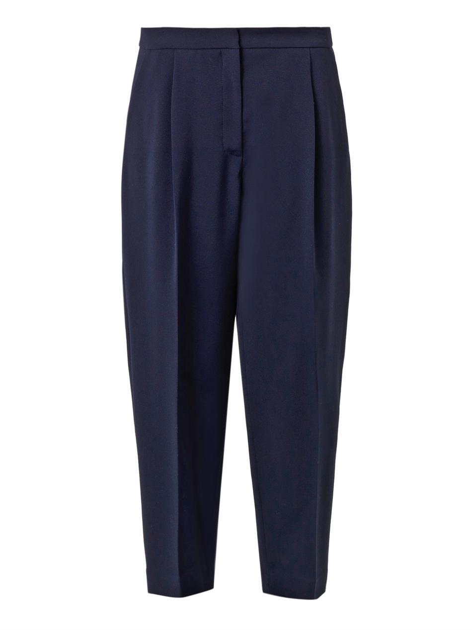 Freda Balloon-leg Cropped Wool Trousers in Blue