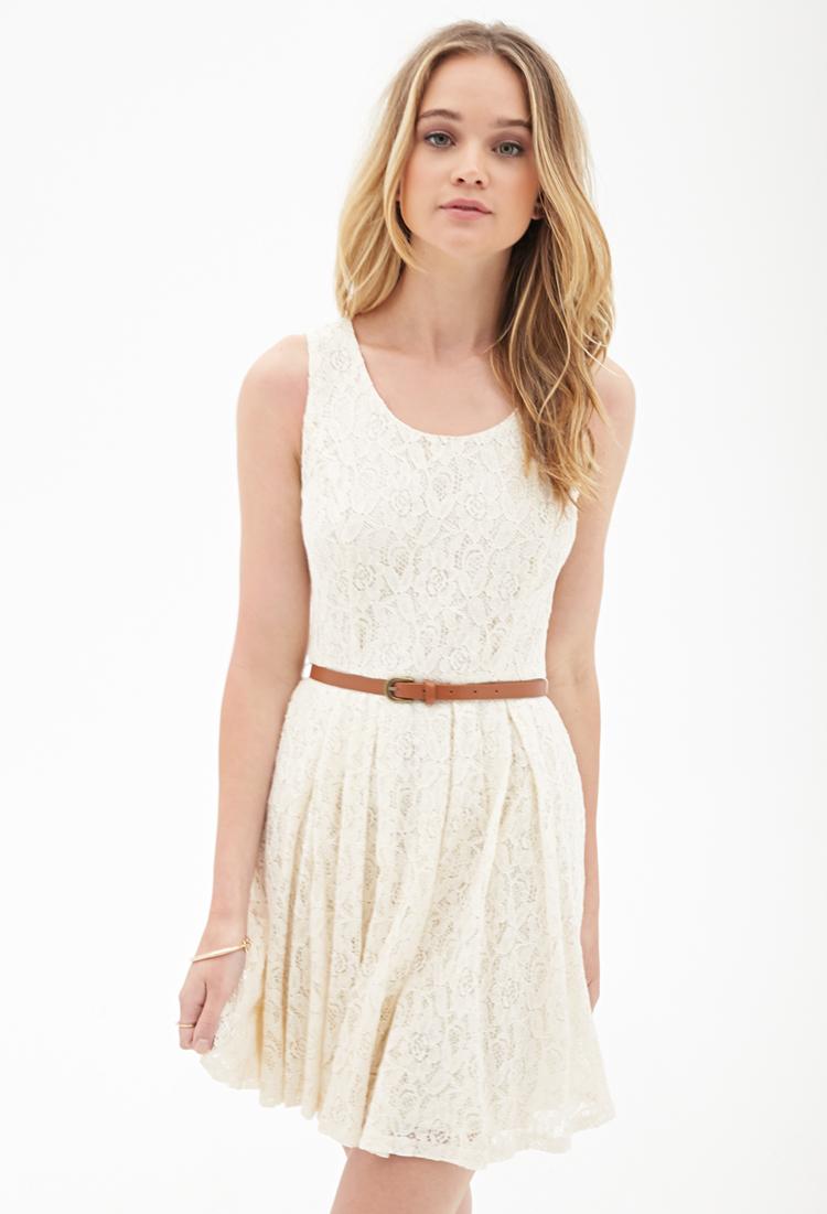 f036f89a26e Forever 21 Belted Crochet Lace Dress in White - Lyst