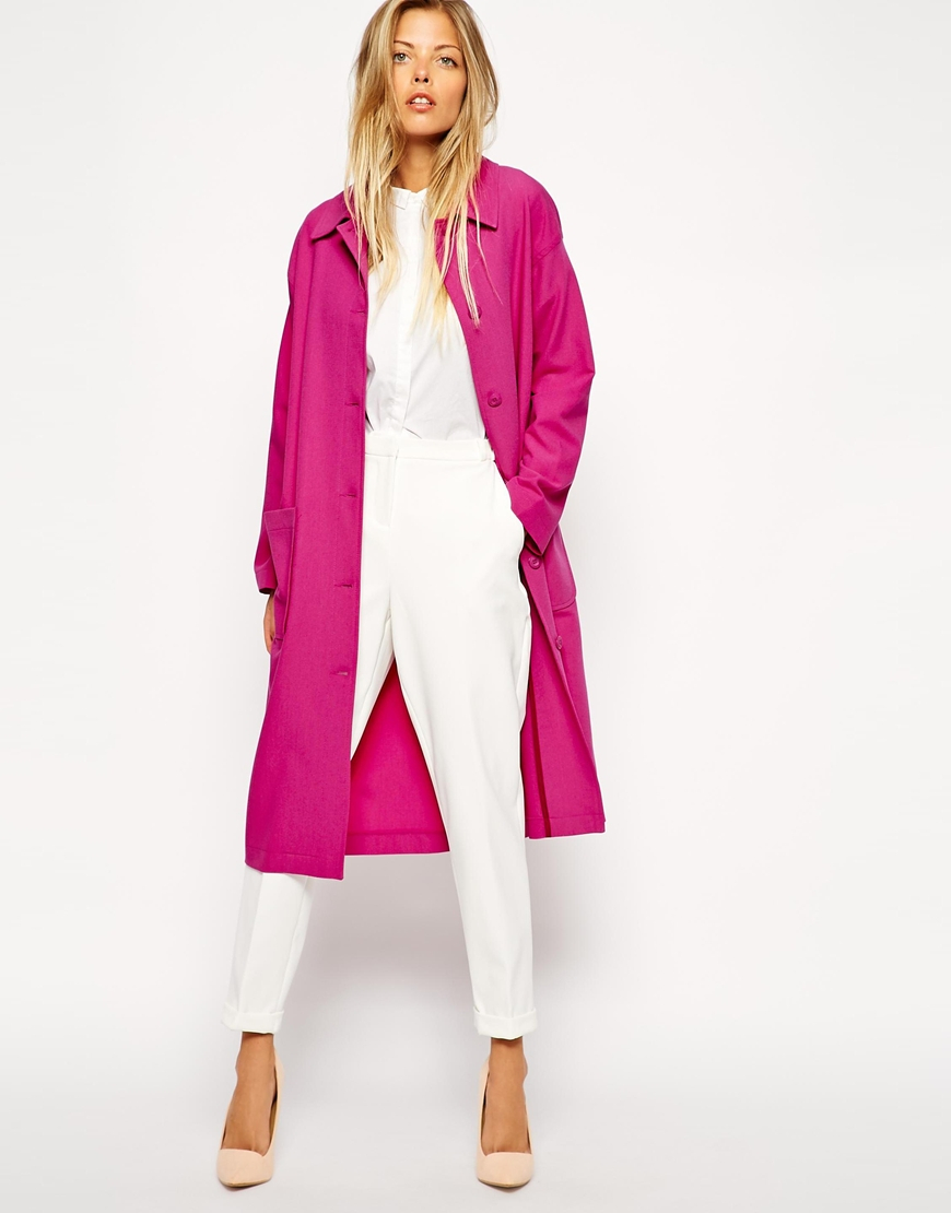 Asos Duster Coat With Patch Pockets in Pink | Lyst